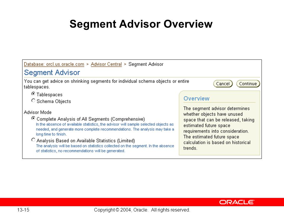 13-15 Copyright © 2004, Oracle. All rights reserved. Segment Advisor Overview