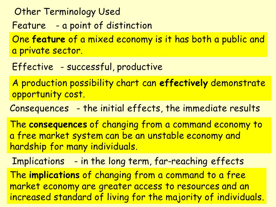 Other Terminology Used Consequences Implications Feature Effective - the initial effects, the immediate results - in the long term, far-reaching effects - a point of distinction - successful, productive One feature of a mixed economy is it has both a public and a private sector.