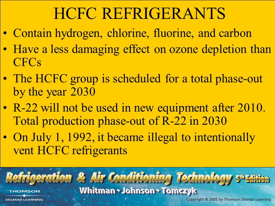 HCFC REFRIGERANTS Contain hydrogen, chlorine, fluorine, and carbon Have a less damaging effect on ozone depletion than CFCs The HCFC group is schedule