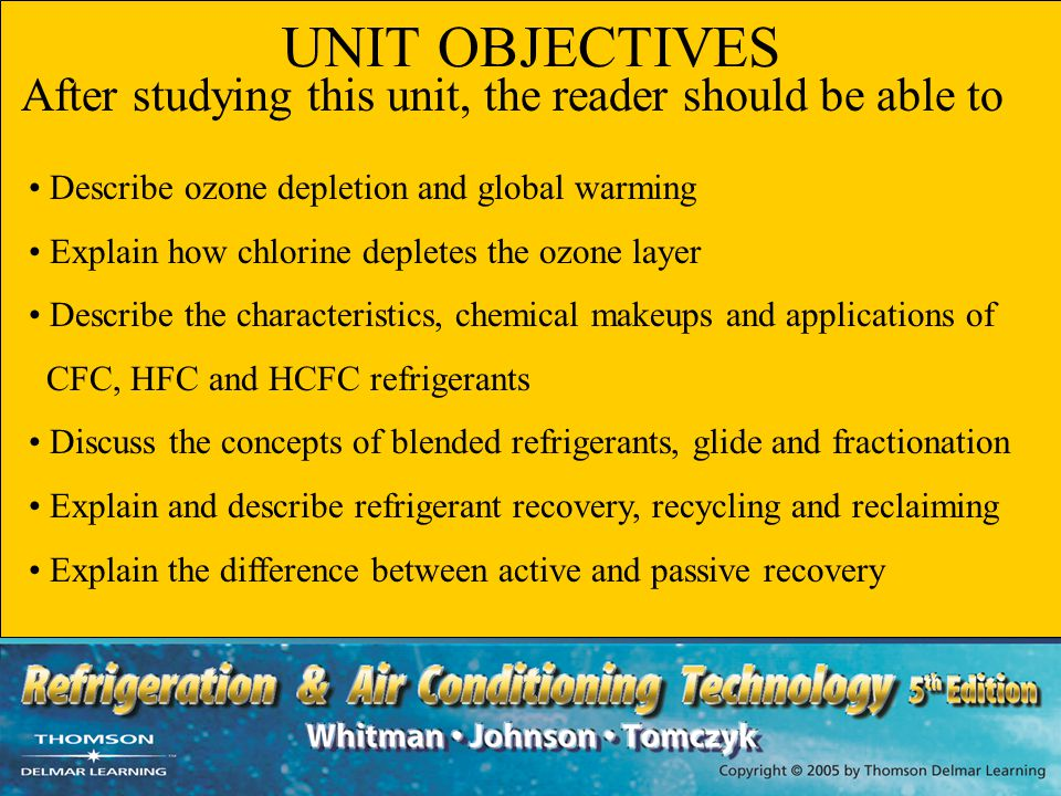 UNIT SUMMARY - 2 Most modern refrigerants are ethane or methane based HC refrigerants contain only hydrogen and carbon CFC refrigerants contain chlorine, fluorine and carbon HCFC refrigerants contain hydrogen, chlorine, fluorine and carbon Blended refrigerants can be azeotropic blends, near azeotropic blends or zeotropic blends The Montreal Protocol limits the use, production and phase- out of CFC refrigerants