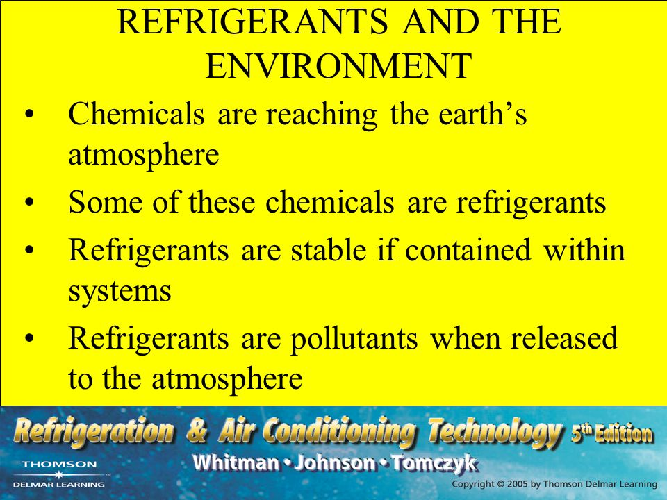 UNIT SUMMARY - 3 The Clean Air Act regulates the use and disposal of CFC and HCFC refrigerants Refrigerant can be recovered, recycled or reclaimed Recovery is the most common and popular field option Active recovery uses a self-contained recovery unit Passive recovery uses the system compressor As of November 14, 1995, all technicians must be certified Refrigerant must be recovered into DOT-approved recovery tanks