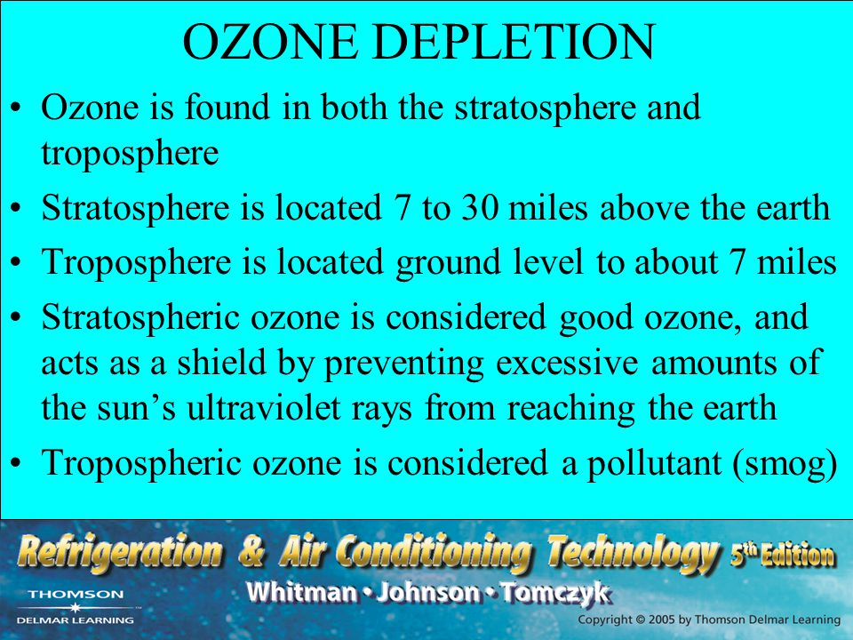 OZONE DEPLETION Ozone is found in both the stratosphere and troposphere Stratosphere is located 7 to 30 miles above the earth Troposphere is located g