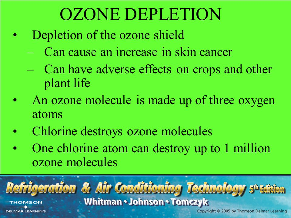 OZONE DEPLETION Depletion of the ozone shield –Can cause an increase in skin cancer –Can have adverse effects on crops and other plant life An ozone m