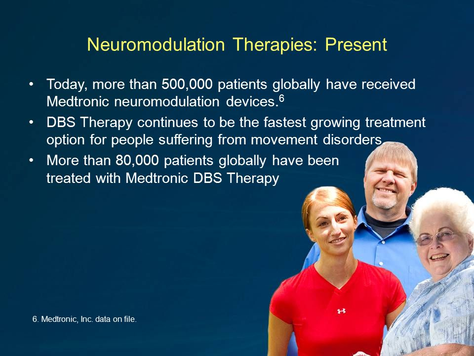 Neuromodulation Therapies: Present Today, more than 500,000 patients globally have received Medtronic neuromodulation devices.