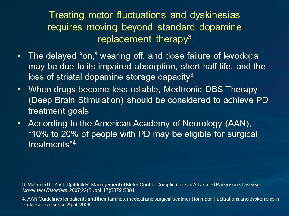 Treating motor fluctuations and dyskinesias requires moving beyond standard dopamine replacement therapy 3 The delayed on, wearing off, and dose failure of levodopa may be due to its impaired absorption, short half-life, and the loss of striatal dopamine storage capacity 3 When drugs become less reliable, Medtronic DBS Therapy (Deep Brain Stimulation) should be considered to achieve PD treatment goals According to the American Academy of Neurology (AAN), 10% to 20% of people with PD may be eligible for surgical treatments 4 3.