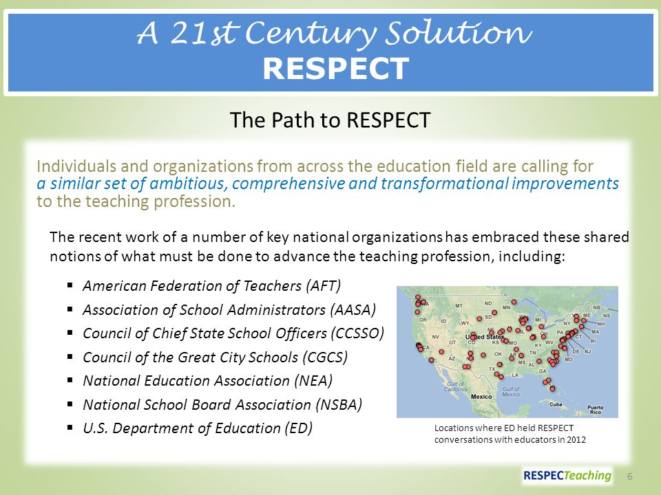 A 21st Century Solution RESPECT Individuals and organizations from across the education field are calling for a similar set of ambitious, comprehensive and transformational improvements to the teaching profession.