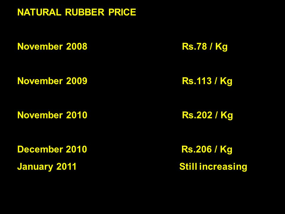 7 NATURAL RUBBER PRICE November 2008 Rs.78 / Kg November 2009 Rs.113 / Kg November 2010 Rs.202 / Kg December 2010 Rs.206 / Kg January 2011 Still increasing