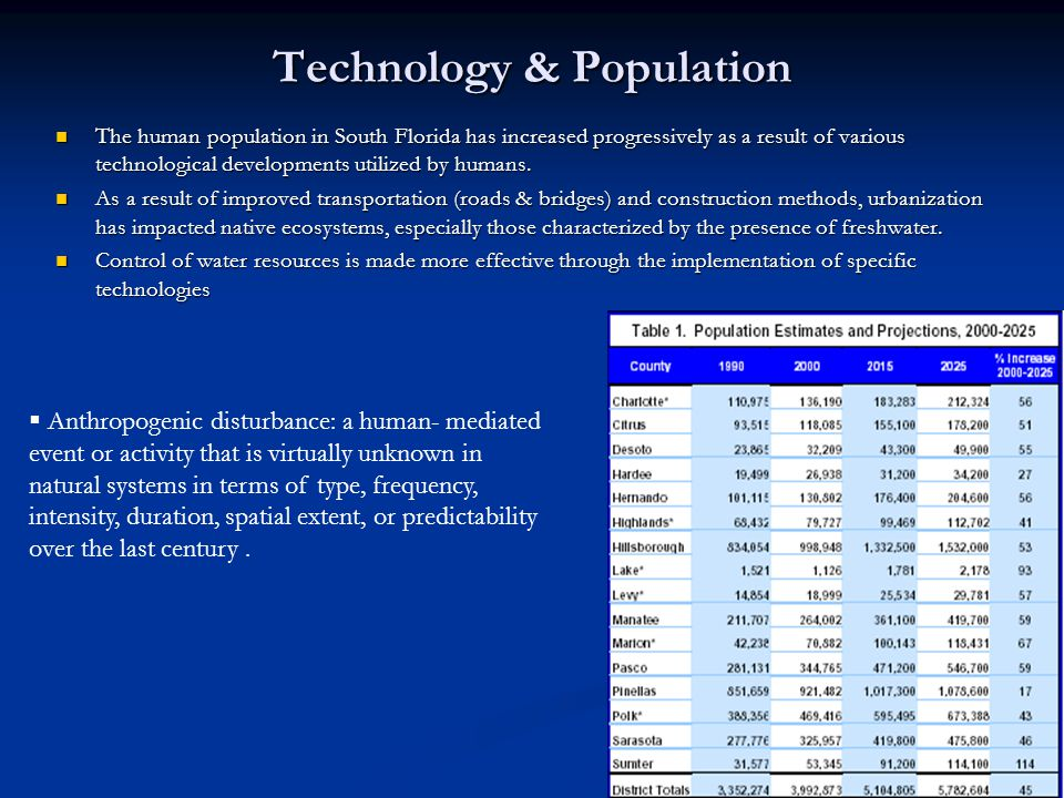 Technology & Population The human population in South Florida has increased progressively as a result of various technological developments utilized by humans.