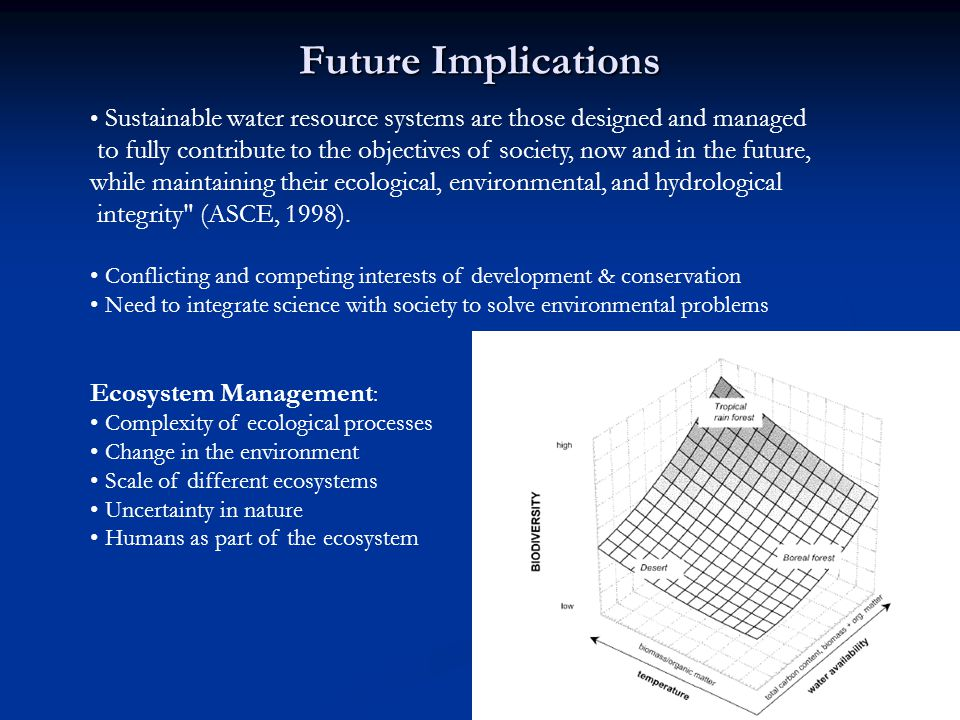 Future Implications Sustainable water resource systems are those designed and managed to fully contribute to the objectives of society, now and in the future, while maintaining their ecological, environmental, and hydrological integrity (ASCE, 1998).