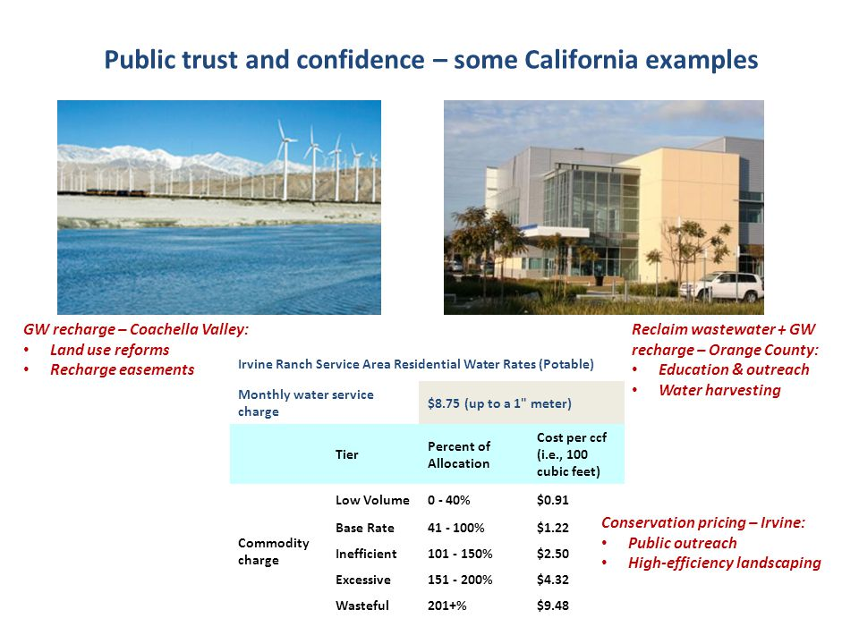 Public trust and confidence – some California examples GW recharge – Coachella Valley: Land use reforms Recharge easements Reclaim wastewater + GW rec