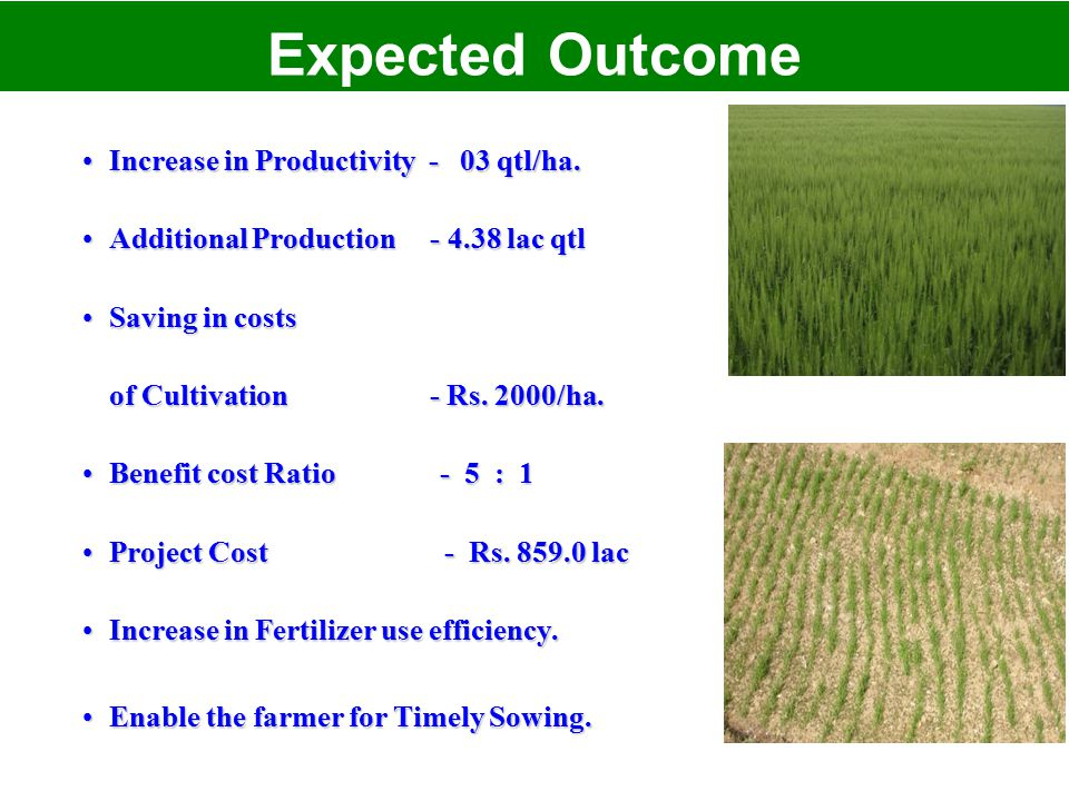 Increase in Productivity - 03 qtl/ha.Increase in Productivity - 03 qtl/ha. Additional Production - 4.38 lac qtlAdditional Production - 4.38 lac qtl Sa
