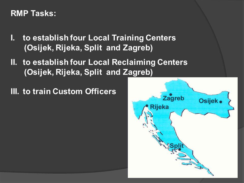 RMP Tasks: I.to establish four Local Training Centers (Osijek, Rijeka, Split and Zagreb) II.to establish four Local Reclaiming Centers (Osijek, Rijeka