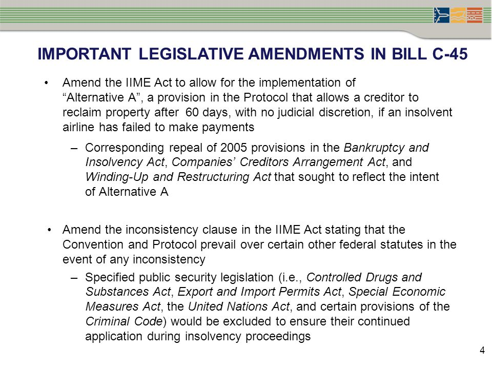 """IMPORTANT LEGISLATIVE AMENDMENTS IN BILL C-45 Amend the IIME Act to allow for the implementation of """"Alternative A"""", a provision in the Protocol that"""