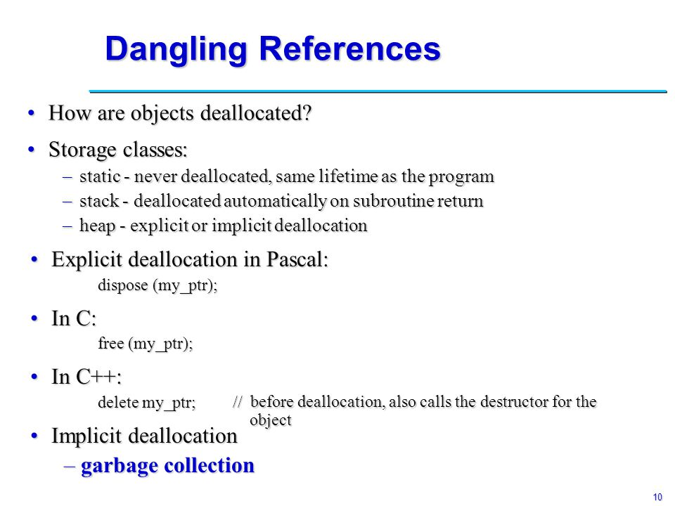 10 Dangling References How are objects deallocated?How are objects deallocated.