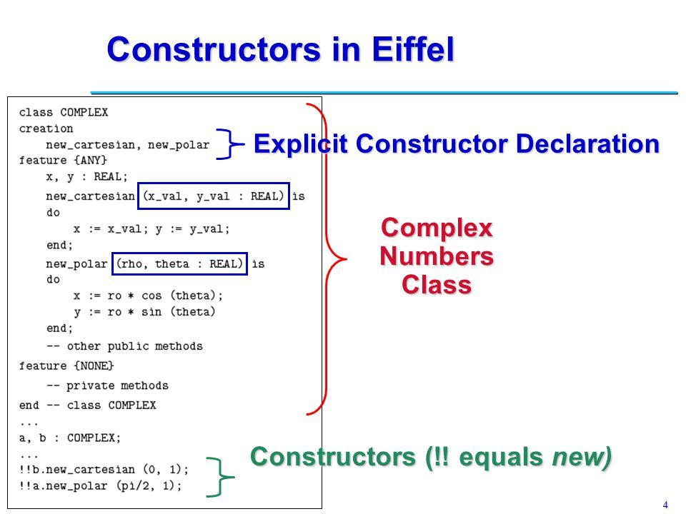 4 Constructors in Eiffel ComplexNumbersClass Constructors (!.