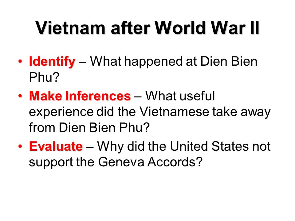 Vietnam after World War II IdentifyIdentify – What happened at Dien Bien Phu? Make InferencesMake Inferences – What useful experience did the Vietname