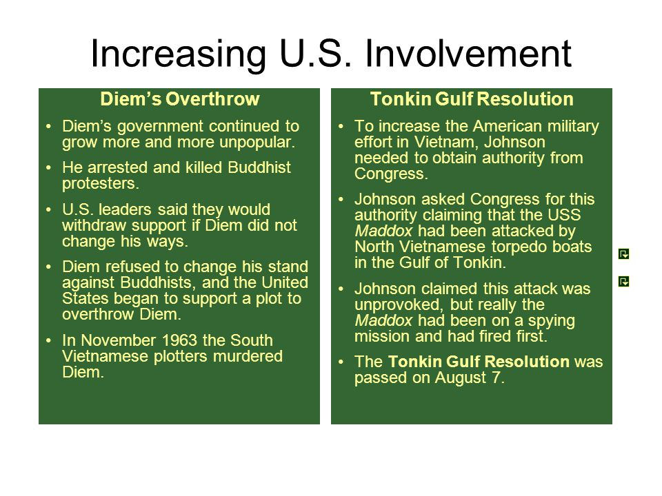 Increasing U.S. Involvement Diem's Overthrow Diem's government continued to grow more and more unpopular. He arrested and killed Buddhist protesters.