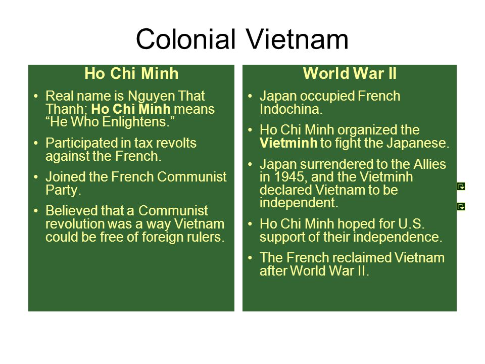 "Colonial Vietnam Ho Chi Minh Real name is Nguyen That Thanh; Ho Chi Minh means ""He Who Enlightens."" Participated in tax revolts against the French. Jo"
