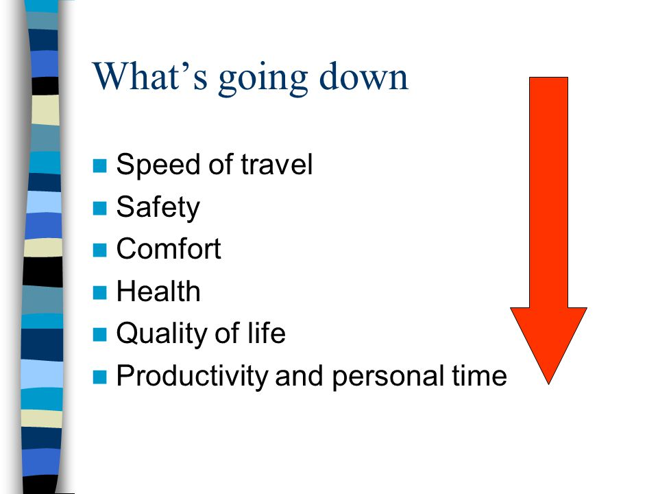 What's going down Speed of travel Safety Comfort Health Quality of life Productivity and personal time
