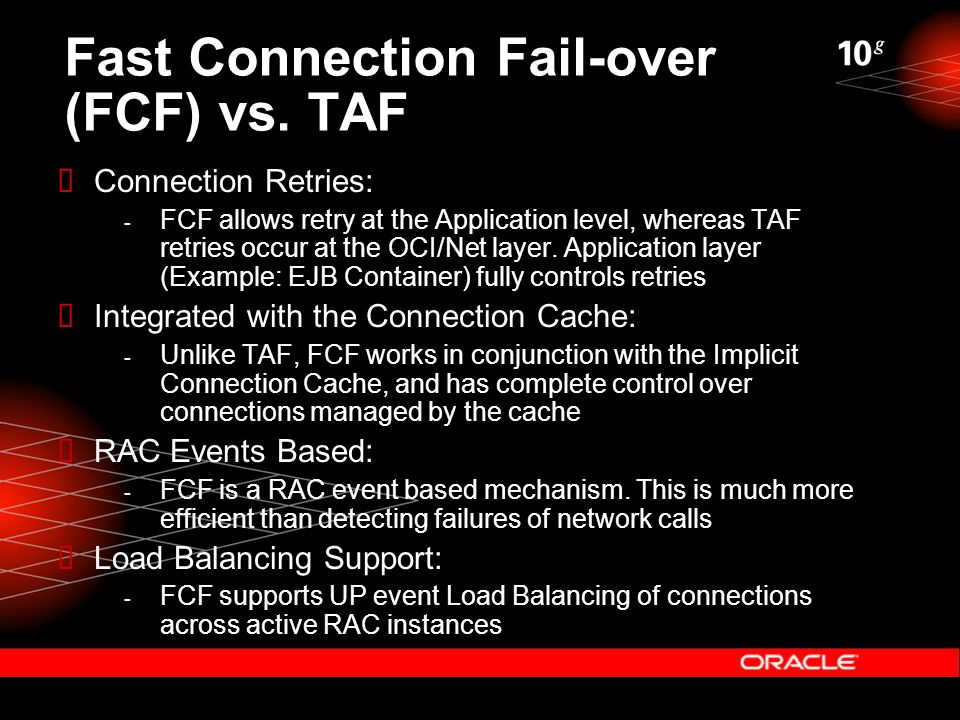 Fast Connection Fail-over (FCF) vs.