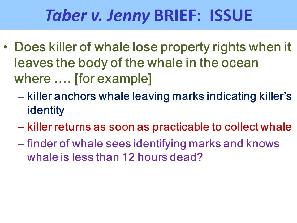 Taber v. Jenny BRIEF: ISSUE Does killer of whale lose property rights when it leaves the body of the whale in the ocean where …. [for example] – kille