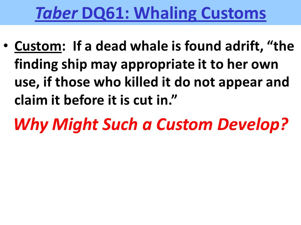 "Taber DQ61: Whaling Customs Custom: If a dead whale is found adrift, ""the finding ship may appropriate it to her own use, if those who killed it do no"