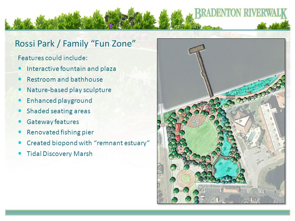 "Rossi Park / Family ""Fun Zone"" Features could include: Interactive fountain and plaza Restroom and bathhouse Nature-based play sculpture Enhanced play"
