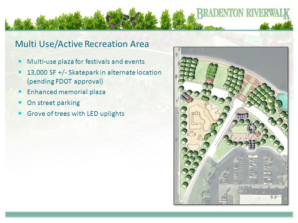 Multi Use/Active Recreation Area Multi-use plaza for festivals and events 13,000 SF +/- Skatepark in alternate location (pending FDOT approval) Enhanc