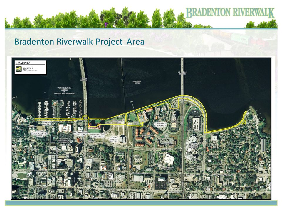Master Plan Components Florida History Garden Enhanced Portal at Green Bridge Great lawn and Day Dock Enhanced Clock Tower Plaza Botanical Walk Enhanced Bandshell Family Activity Area at Rossi Park Outdoor Living Rooms Active Recreation Area Enhanced Memorial Plaza Restoration Area Boardwalk