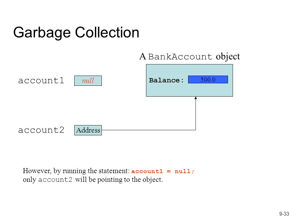 9-33 Garbage Collection However, by running the statement: account1 = null; only account2 will be pointing to the object.