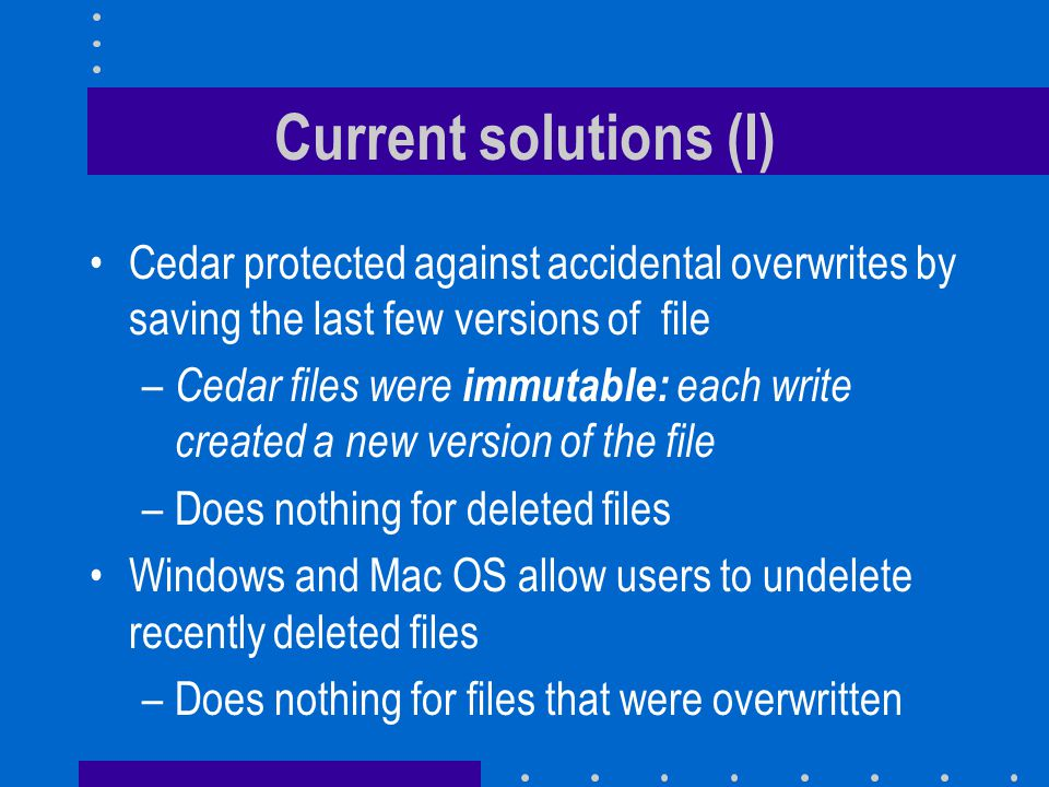 Performance Somewhat slower than conventional file systems Using HP-UX traces collected at HP Labs one can estimate that Keep-Landmarks files would account for 62.4 % of files but only 15.2% of the disk space