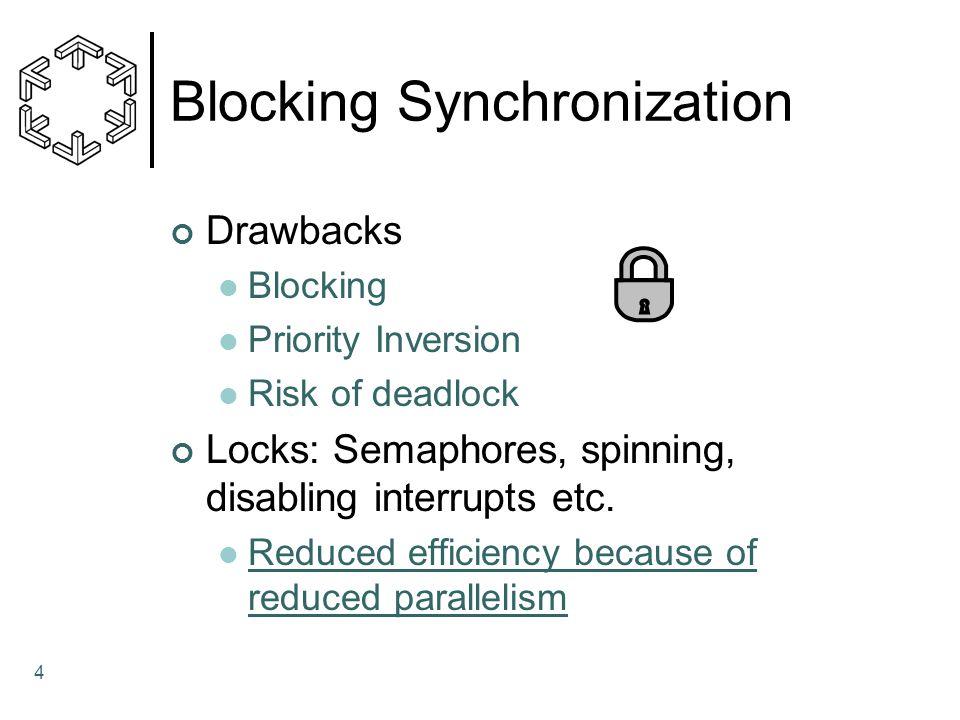 4 Blocking Synchronization Drawbacks Blocking Priority Inversion Risk of deadlock Locks: Semaphores, spinning, disabling interrupts etc.