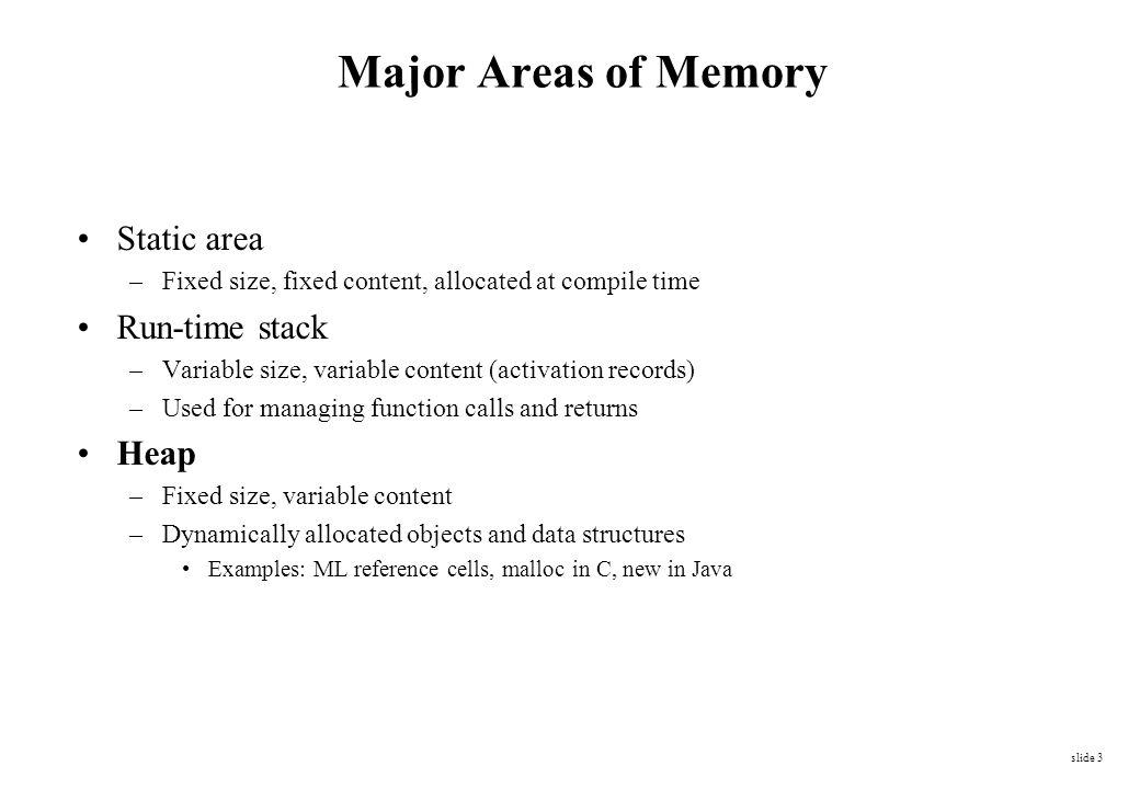 Heap Storage Memory allocation under explicit programmatic control –C malloc, C++ / Pascal / Java / C# new operation.