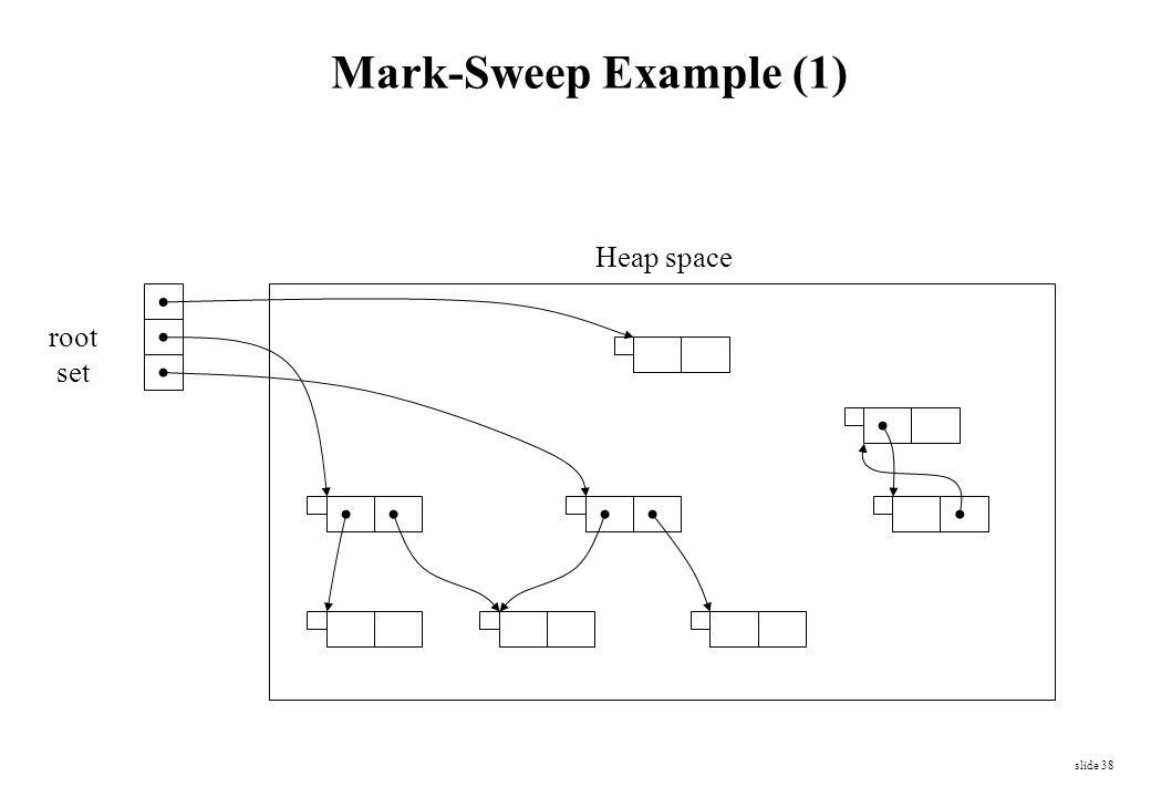 slide 38 root set Heap space Mark-Sweep Example (1)