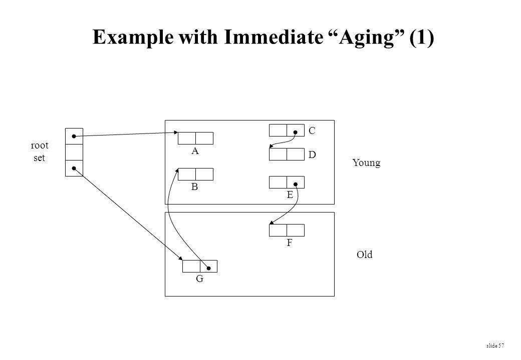 "slide 57 Young Old root set A B C D E F G Example with Immediate ""Aging"" (1)"