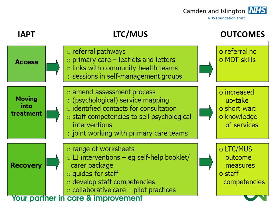 IAPTLTC/MUSOUTCOMES Access o referral pathways o primary care – leaflets and letters o links with community health teams o sessions in self-management