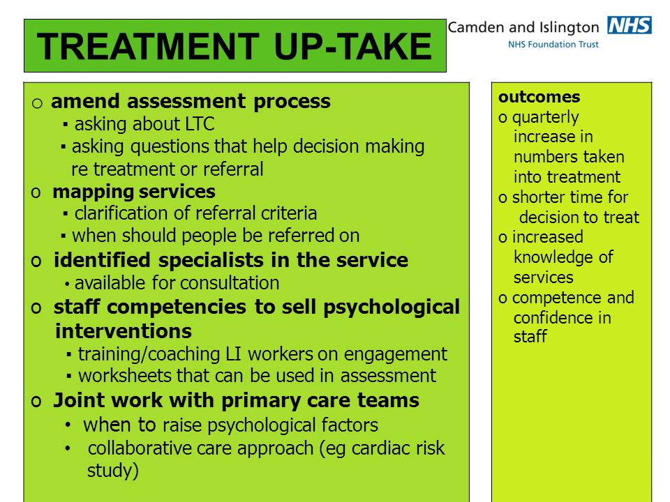o TREATMENT UP-TAKE o amend assessment process ▪ asking about LTC ▪ asking questions that help decision making re treatment or referral o mapping services ▪ clarification of referral criteria ▪ when should people be referred on o identified specialists in the service available for consultation o staff competencies to sell psychological interventions ▪ training/coaching LI workers on engagement ▪ worksheets that can be used in assessment o Joint work with primary care teams when to raise psychological factors collaborative care approach (eg cardiac risk study) outcomes o quarterly increase in numbers taken into treatment o shorter time for decision to treat o increased knowledge of services o competence and confidence in staff