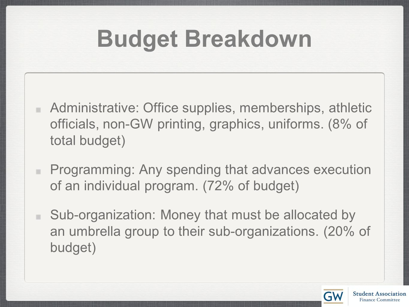 Budget Breakdown Administrative: Office supplies, memberships, athletic officials, non-GW printing, graphics, uniforms.