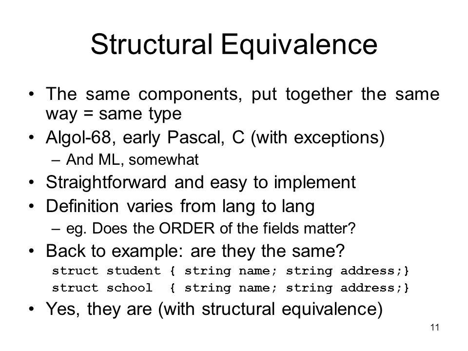 11 Structural Equivalence The same components, put together the same way = same type Algol-68, early Pascal, C (with exceptions) –And ML, somewhat Str