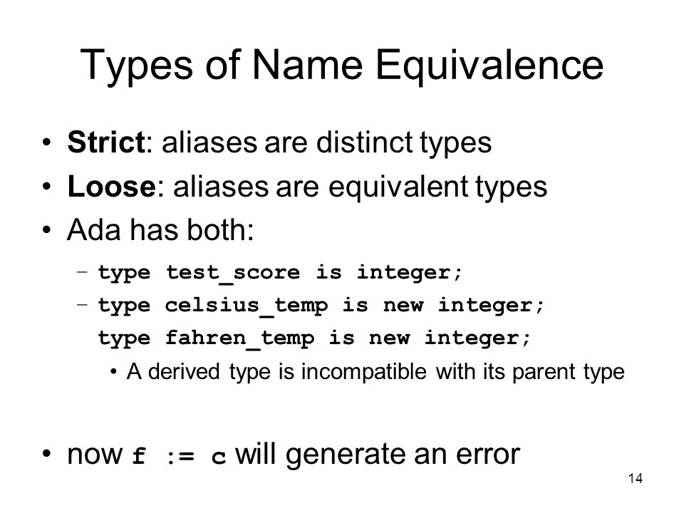 14 Types of Name Equivalence Strict: aliases are distinct types Loose: aliases are equivalent types Ada has both: –type test_score is integer; –type c