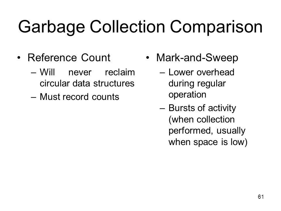 61 Garbage Collection Comparison Reference Count –Will never reclaim circular data structures –Must record counts Mark-and-Sweep –Lower overhead durin