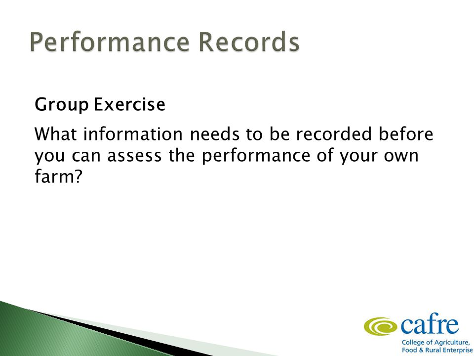 Group Exercise What information needs to be recorded before you can assess the performance of your own farm