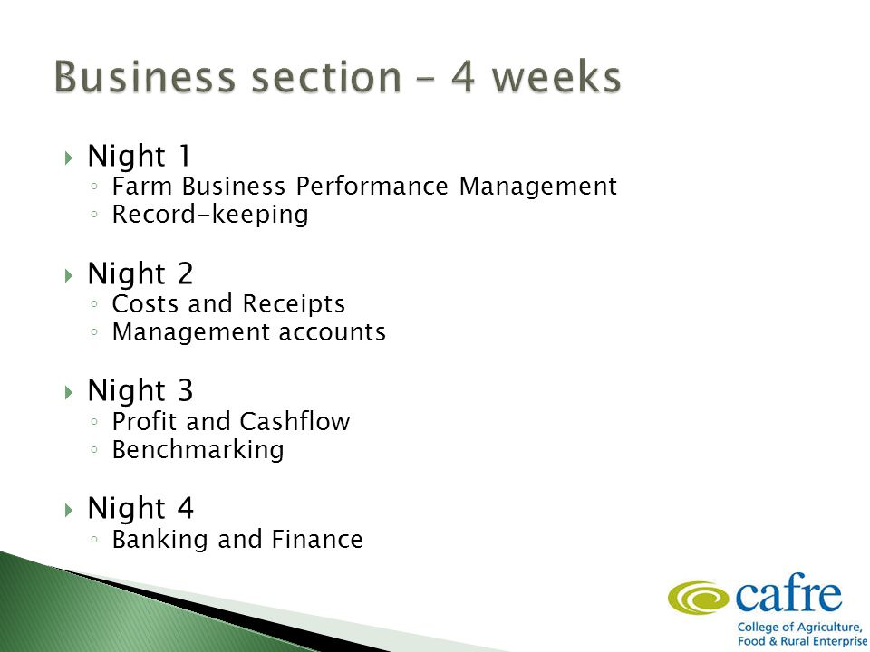  It's the Law  For VAT and Tax forms (HMRC)  To measuring performance  For making decisions; ◦ Details for management decisions: feeding, breeding, culling, selection, purchases, expansion, etc.