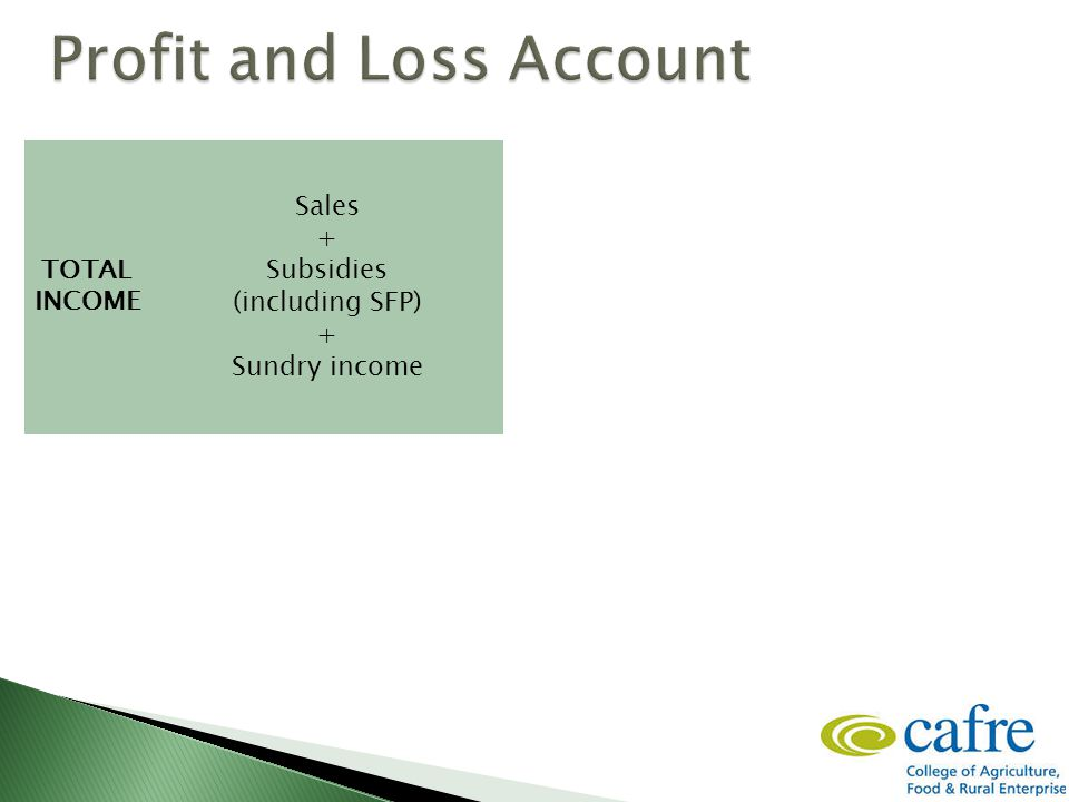 = Sales + Subsidies (including SFP) + Sundry income TOTAL INCOME COST OF SALES Opening valuation (livestock, crops, fodder, feedstuffs and goods in store) + Purchases – Closing valuation - GROSS PROFIT OVERHEADS OR FIXED COSTS NET PROFIT - =