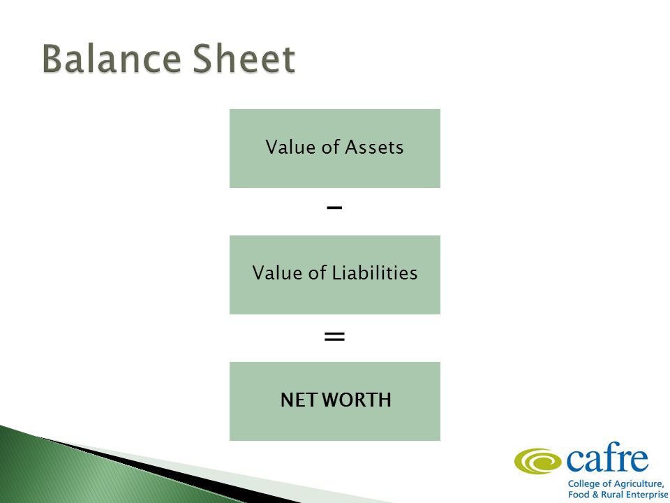 Value of Assets NET WORTH Value of Liabilities - =