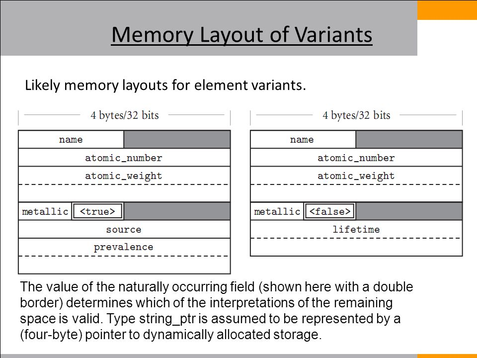 Memory Layout of Variants Likely memory layouts for element variants.
