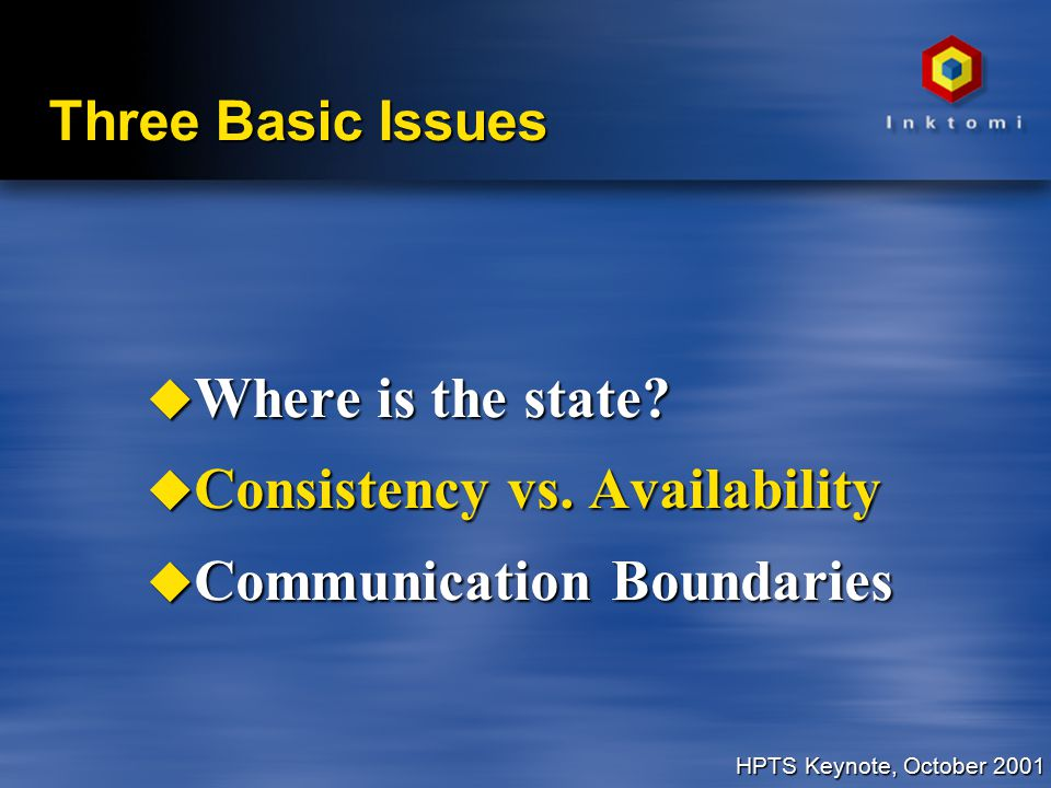 HPTS Keynote, October 2001 Three Basic Issues u Where is the state.