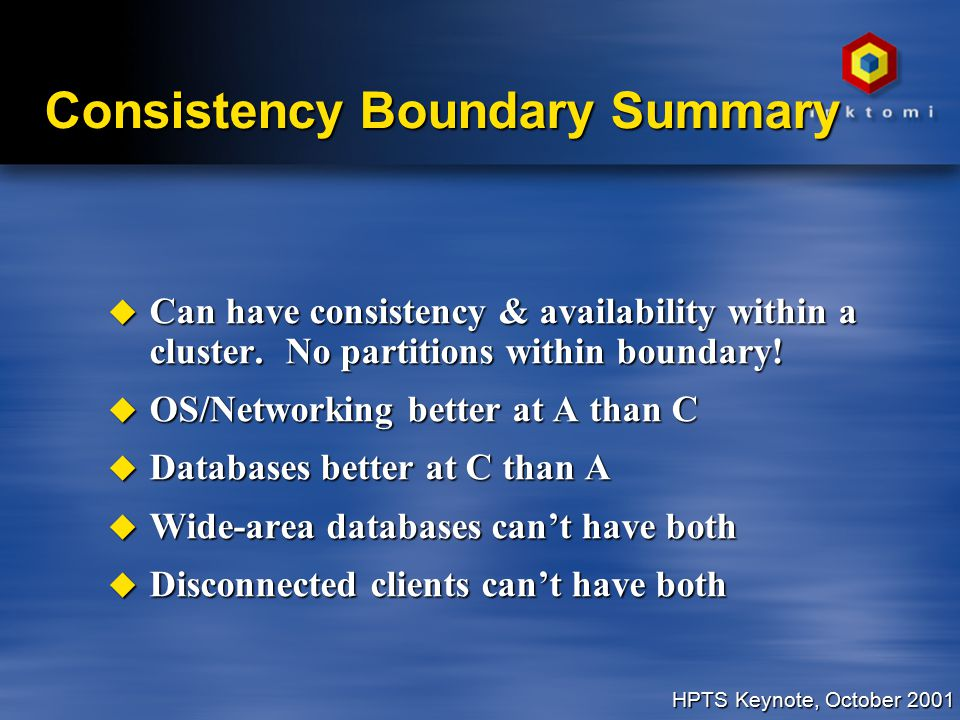 HPTS Keynote, October 2001 Consistency Boundary Summary u Can have consistency & availability within a cluster.