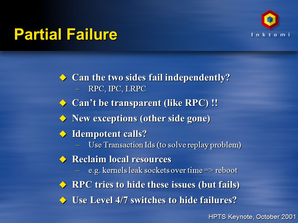 HPTS Keynote, October 2001 Partial Failure u Can the two sides fail independently.