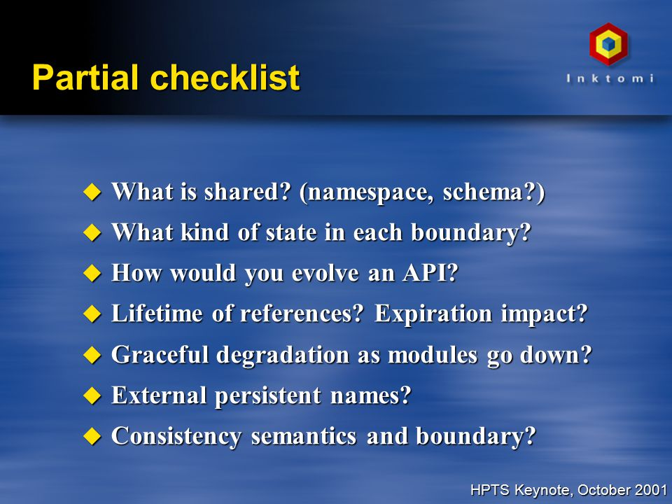 HPTS Keynote, October 2001 Partial checklist u What is shared.